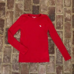 Abercrombie & Fitch red cable stretch sweater